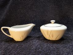 Fine China of Japan Platinum Wheat Creamer Sugar with Lid - EXCELLENT! #FineChinaofJapan