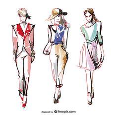 Fashion vector drawing illustrations