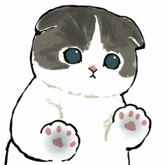 Cute Cat Drawing, Cute Animal Drawings, Kitten Cartoon, Cute Cartoon, Easy Drawings, Art Drawings Sketches, Cute Kawaii Animals, Cute Love Memes, Kawaii Doodles