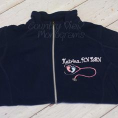 Personalized Nurse RN Your Text Medical Caduceus Embroidered Jacket