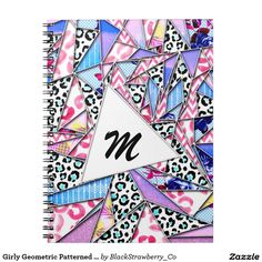 Girly Geometric Patterned Triangles Monogram Notebook