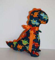 Stuffed Dinosaur with Orange Rick-rack Spikes Cute dinosaur fabric Baby Shower or Christmas Gift