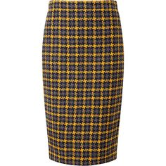 Pure Collection Campbell Pencil Skirt, Oversized Yellow Check ($110) ❤ liked on Polyvore featuring skirts, bottoms, blue skirt, plus size print skirts, pure collection, slim skirt and checked skirt