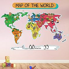 Animal World Map Wall Sticker World Map Wall Decal Kids Bedroom Home Decor available in 8 Sizes X-Large Digital