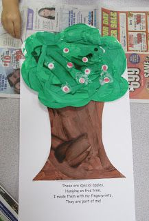 """This is a great first week!  Apple trees from fingerprints, calling word of the day """"password"""" so you can ask kids to read it all day, acorn rolling painting.  So fun!"""