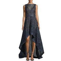 Tadashi Shoji Sleeveless Illusion Mesh Hi-Lo Gown ($719) ❤ liked on Polyvore featuring dresses, gowns, sapphire, sleeveless gown, high low dresses, hi lo dress, tadashi shoji dresses and wrap dress