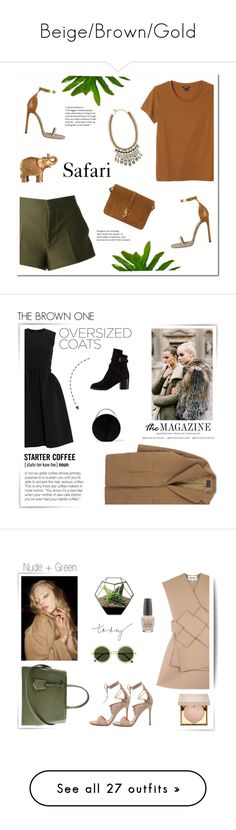 """""""Beige/Brown/Gold"""" by uniqueimperfection ❤ liked on Polyvore featuring Marni, Mario Luca Giusti, Monki, Isabel Marant, Yves Saint Laurent, Nocturne, Summer, safari, uniqueimperfection and Preen"""