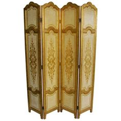 1950s Venetian Hollywood Regency Gilt Panel Room Divider ($1,899) ❤ liked on Polyvore featuring home, home decor, panel screens, screens & room dividers, folding screen and folding room dividers