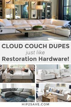 You don't need to spend a fortune to have superior comfort and style - these cloud couch dupes are just as good as Restoration Hardware! Cloud 9, The Cloud Couch, Restoration Hardware Sectional, Home Living Room, Living Room Decor, Eames, Restauration Hardware, House Deck, Farm House