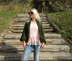 Afghan Crochet Cardigan Green by LoveandKnit on Etsy