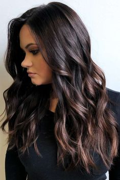 Jet Black Hair With Highlights ❤ Do you know how awesomely you can pull off black hair with highlights today? Let us share with you the latest ideas! Caramel and chocolate shades, silver hues, purple vibes, burgundy tastes, blonde hi Ombre Hair, Balayage Hair, Balayage On Black Hair, Black Hair With Highlights, Hair Highlights, Black Highlighted Hair, Chocolate Hair With Caramel Highlights, Black Hair With Brown Highlights, Dark Chocolate Hair Color