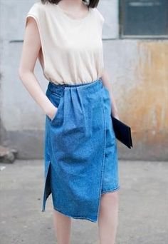 Draped Denim Midi Skirt. || Rita and Phill specializes in custom skirts. Follow Rita and Phill for more jean skirt images. https://www.pinterest.com/ritaandphill/jean-skirts/