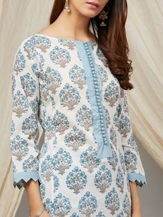 Buy Blue Off White Hand Block Printed Cotton Mul Kurta online at Theloom