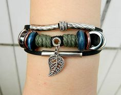 Leaf bracelet Adjustable braceletantique silver by goodlucky, $6.90