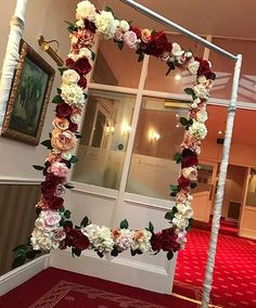 Bridal shower photo booth ideas decoration 42 Best ideas = 'http Quince Decorations, Bridal Shower Decorations, Wedding Decorations, Flower Frame, Flower Wall, Flower Mirror, Hanging Flowers, Paper Flowers, Burgundy Baby Shower
