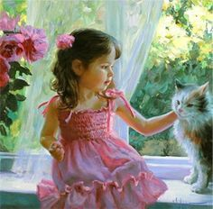 girl in pink with her cat.