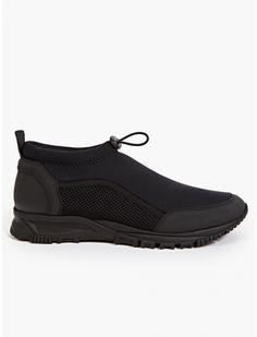 Lanvin Men's Black Neoprene Sock Mid-Top Sneakers | oki-ni