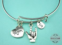 I Love You Mom Bangle, Mothers Day Bracelet, Mothers Day Gift, I Love You Bracelet, Mom Bracelet, Initial Charm, Silver Plated,CTX013,CSY017