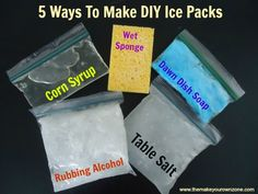 homemade ice packs--can use wine bladders or collapsible/foldable water bottles in place of ziplocs as long as they are clearly marked that they are not to be consumed