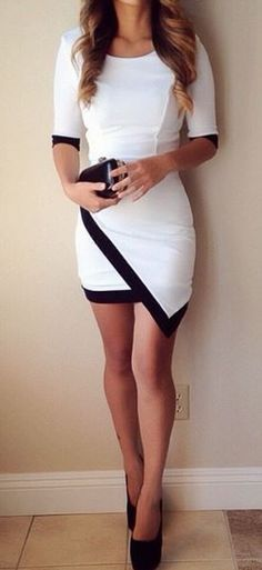 Asymmetrical winter black and white dress