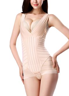 V Neckline Stripes Sassy Body Contour Shaper_Body Shaper_Shapewear_Sexy Lingeire | Cheap Plus Size Lingerie At Wholesale Price | Feelovely.com