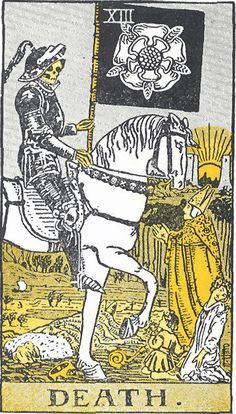 'Death' card from the Rider-Waite tarot deck; illustrated by Pamela Colman Smith, published 1909