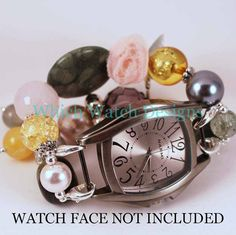 Vintage Floral Beaded Watch Band in light pink, golden yellow, gray and putty green. Such a pretty, feminine watch band!
