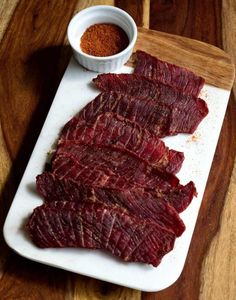 Montana Mountain Jerky has a little black pepper and a tiny amount of cayenne to give it that smooth jerky taste. Make a batch today! Simple Beef Jerky Recipe, Deer Jerky Recipe, Venison Jerky Recipe, Smoked Beef Jerky, Homemade Beef Jerky, Venison Recipes, Smoker Recipes, Rabbit Jerky Recipe, Jerky Seasoning Recipe