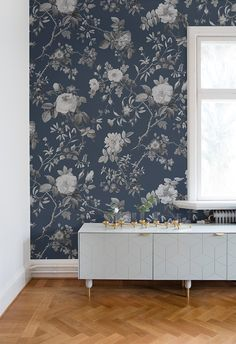 Thorn Rose Wall Decor - evening - rebel walls - over the colors Mural Floral, Blue Floral Wallpaper, Deco Rose, Rose Wall, Woman Cave, Deco Floral, Scandinavian Home, Wall Murals, Interior Inspiration