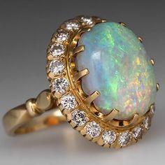 Vintage Crystal Opal Cocktail Ring w Diamond Halo Solid 18K Gold Fine Jewelry | eBay