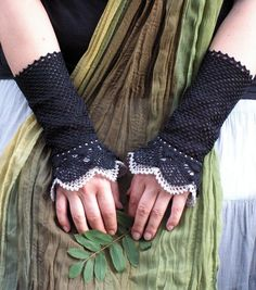 crocheted open work lacy wrist warmers cuffs  ($35.00 Etsy LOVE this stie)