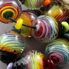 Magma Beads Twisted Rainbows Cones Handmade Lampwork Beads | eBay