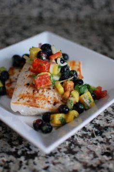 grilled mahi mahi with blueberry salsa. i love summer, so many dishes with seasonal fruit!