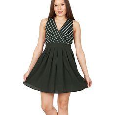 Green stripe v-neck skirt dress