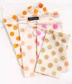muslin bags with colorful dots