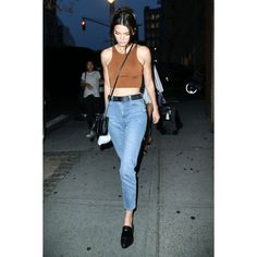 Kendall Jenner Sticks To Her Model Off-Duty Street Style Uniform ❤ liked on Polyvore featuring people