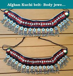 """Afghan Kuchi belt- Body jewelry- Tribal jewelry- Ethnic body jewelry. This beautiful piece of art was handcrafted by tribal skills men by vintage embroider fabrics and ethnic beaded dangles and ornaments, Made from Coin Silver and Brass, Natural Stones, beads, coins, and bells, it is sure to intrigue and entertain, both visually, and in song, as the gentle tinkling sounds will delight those nearby. Entirely hand made with micro beads weaved together in contrasting colors. Length"""" 32…"""