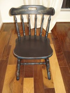 Refinished Chair With Just Spray Paint And Sandpaper Must Do To My Dining Room Chairs