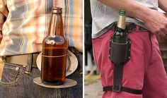 Why carry your beer when you can wear it? Intrigued by the beer belt buckle and beer holster.