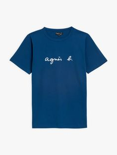 "t-shirt coulos ""agnès b."" bleu foncé manches courtes 
