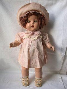 "Vintage 17"" Composition Horsman Gold Medal Baby Doll w 2 Teeth, Original Clothes"