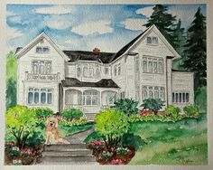 Personalized House Portrait! Watercolor Painting, Custom Illustration  -  Wedding, Christmas, Birthday, Moving, and Anniversary Gift - pinned by pin4etsy.com