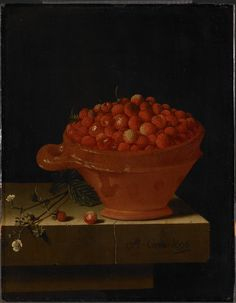 A Bowl of Strawberries on a Stone Plinth, Adriaen Coorte, 1696 - Rijksmuseum European Paintings, Old Paintings, Different Kinds Of Fruits, Dutch Still Life, Martin Johnson, Art Through The Ages, Still Life Fruit, Dutch Golden Age, Dutch Artists