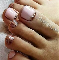Pink cooper Toe Nails - Diet - Fashion - Woman's And Fall Toe Nails, Pretty Toe Nails, Cute Toe Nails, My Nails, Pink Toe Nails, Toe Nail Color, Toe Nail Art, Nail Colors, Pedicure Nail Art