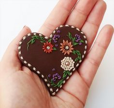 Heart Brooch polymer clay by PiperPixieDesigns, via Flickr