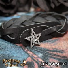 Alchemy Gothic A37 Pentagram Gaelic Strap  Black leather plaited wristband with pewter pentagram button fastener.