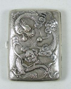 ANTIQUE CHINESE STERLING SILVER CIGARETTE CASE w DRAGONS