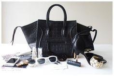 large, black, crocodile print handbag + black stilettos w/ gold heels