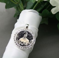 Silver Rhinestone Wedding Bouquet Picture Charm