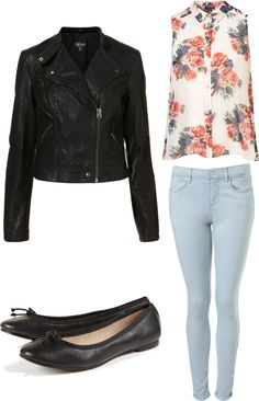 Eleanor inspired outfit with Topshop leather jacket  Floral top / Biker jacket / Topshop skinny leg jeans / Ballet shoes